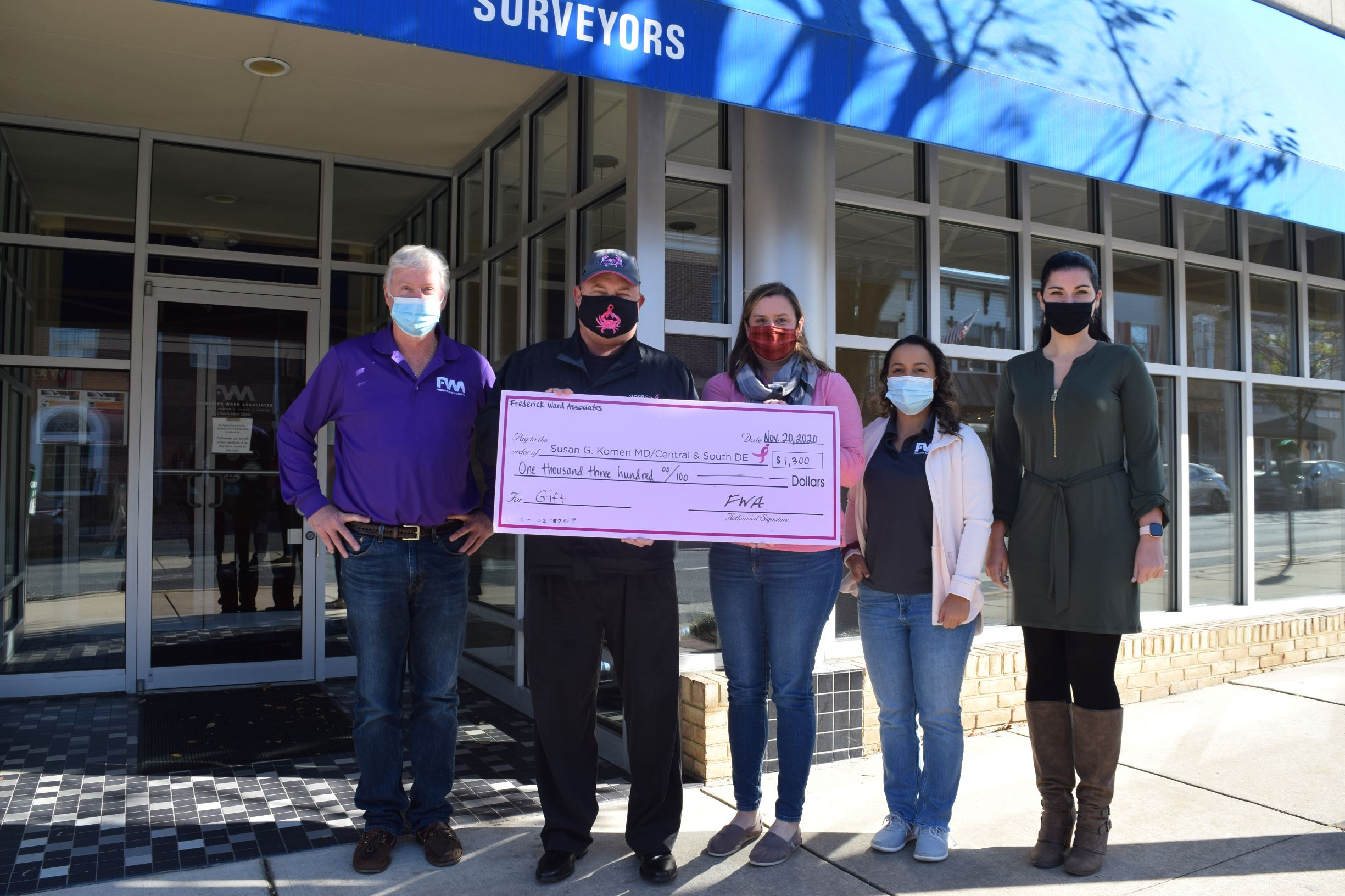 FWA donated $1,300 to the Susan G. Komen Foundation from funds raised from the Walktober Challenge.